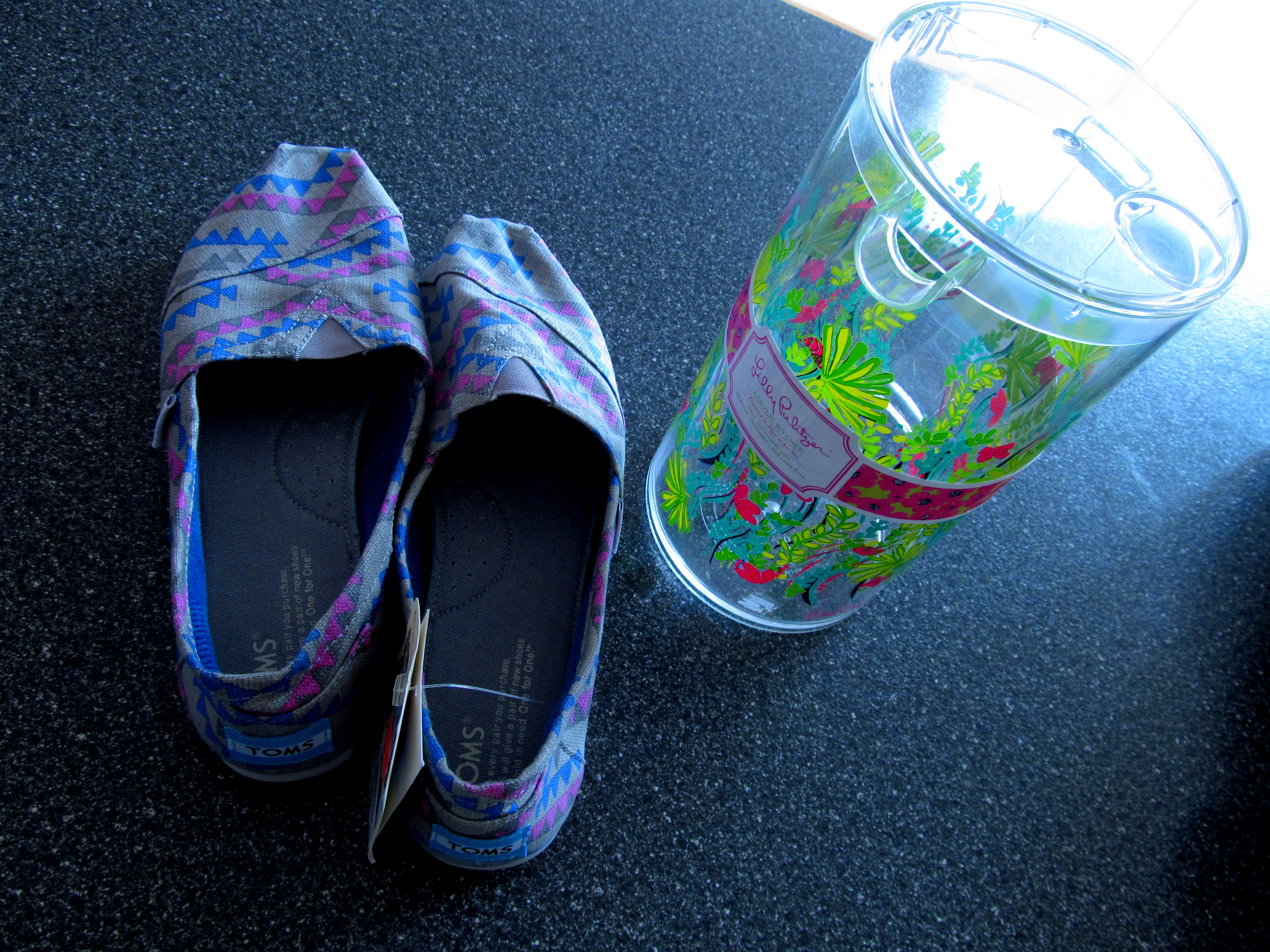 Toms (on SALE) from Urban Outfitters, and an on-sale Lilly Pulitzer pitcher for my sis!