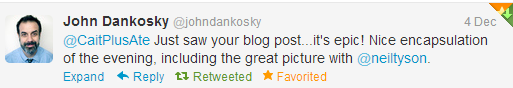 He even read my blog!
