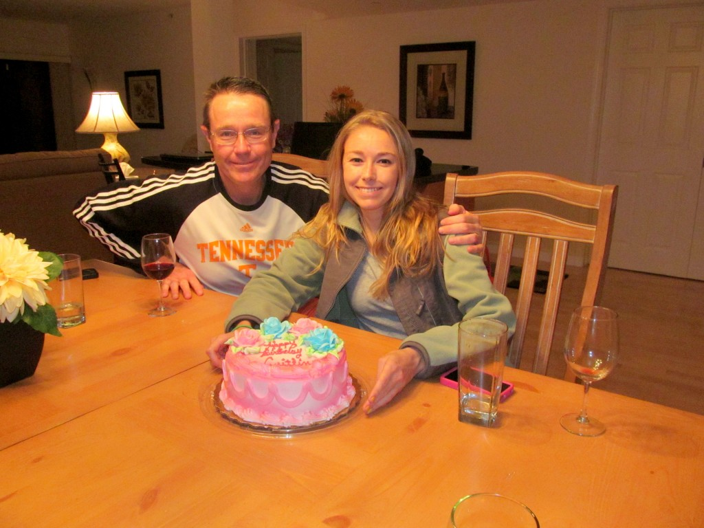 Dad, me, and the pink Publix cake he picked out for me.