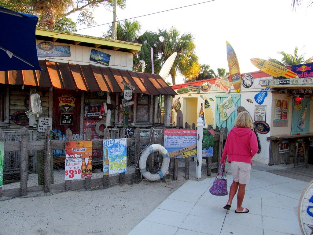 Mom strolling in to the rum bar.