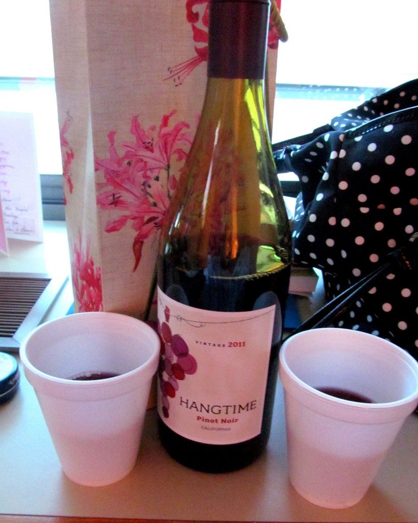 In lieu of flowers I brought Pinot Noir. Kat appreciated it greatly and we had to have a cheers in the hospital room!
