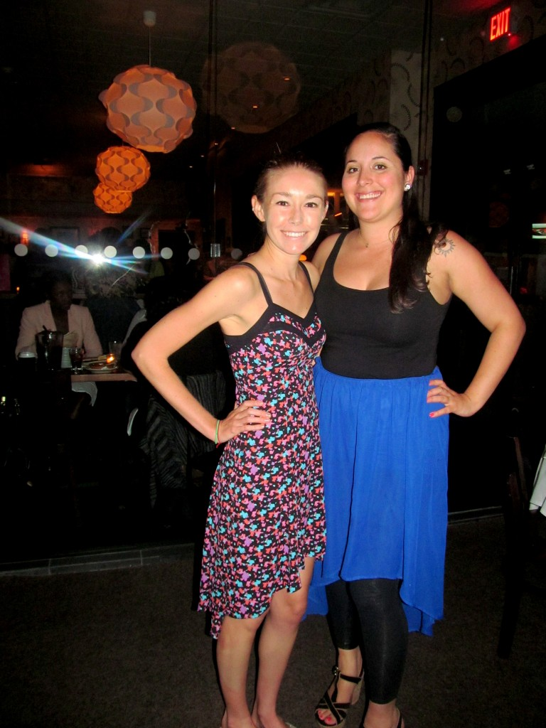 Kat and I happened to both show up in high-low dresses/skirts...um, I love it.