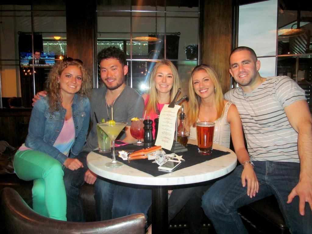 Olivia, Chris, me, Rachel (blog namer), and her boyfriend Steve (Quest Bar sampler).