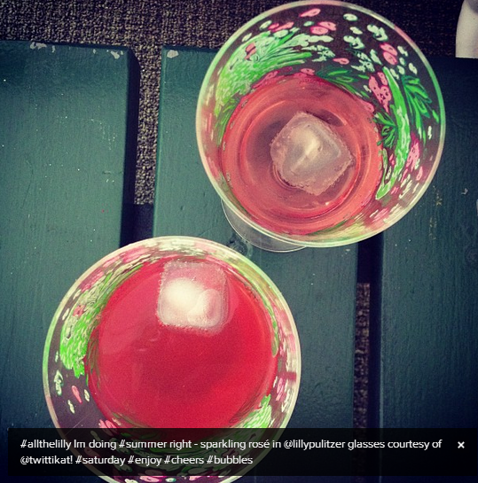 One of this past weekend's day drinks - Yellow Tail Sparkling Rose in Lilly Pulitzer glasses (of course).