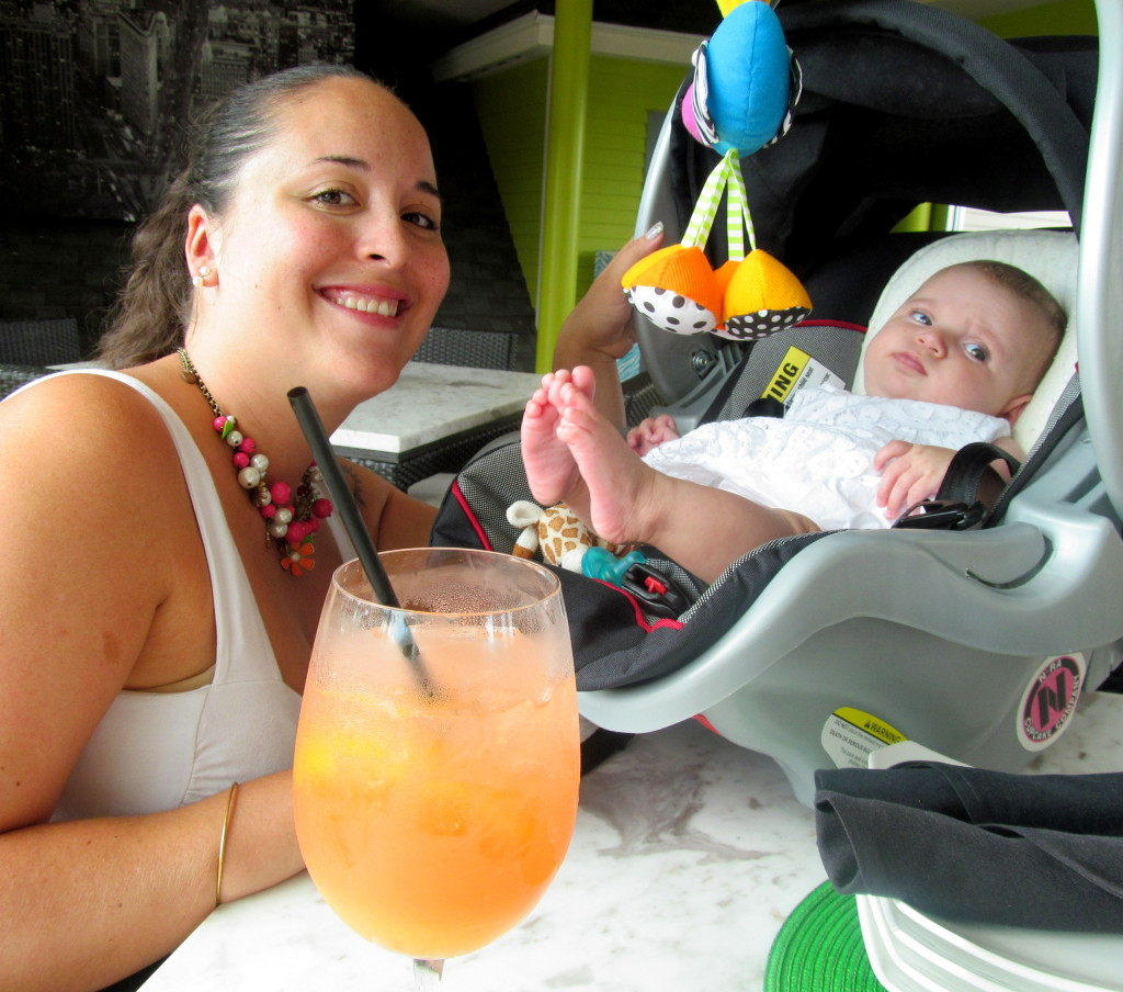 All you need is a 120 Mimosa (champagne, peach melon liqueur, OJ) and a baby.