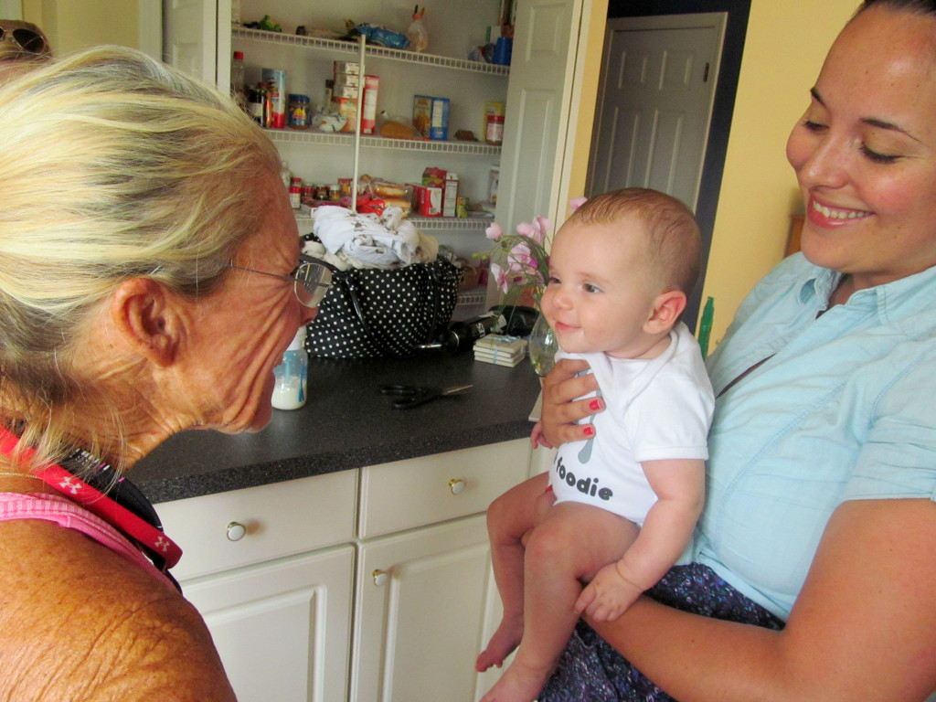 Penelope visited with my mom before we left for the market!