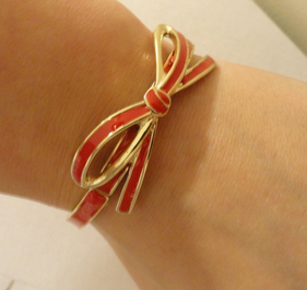 Red Bow Stretch Bracelet - $8