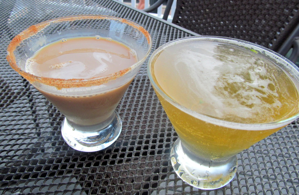 Kat's pumpkin cocktail (delicious but better for a dessert for me!) and my refreshing fall cocktail with bourbon and Angry Orchard hard cider!