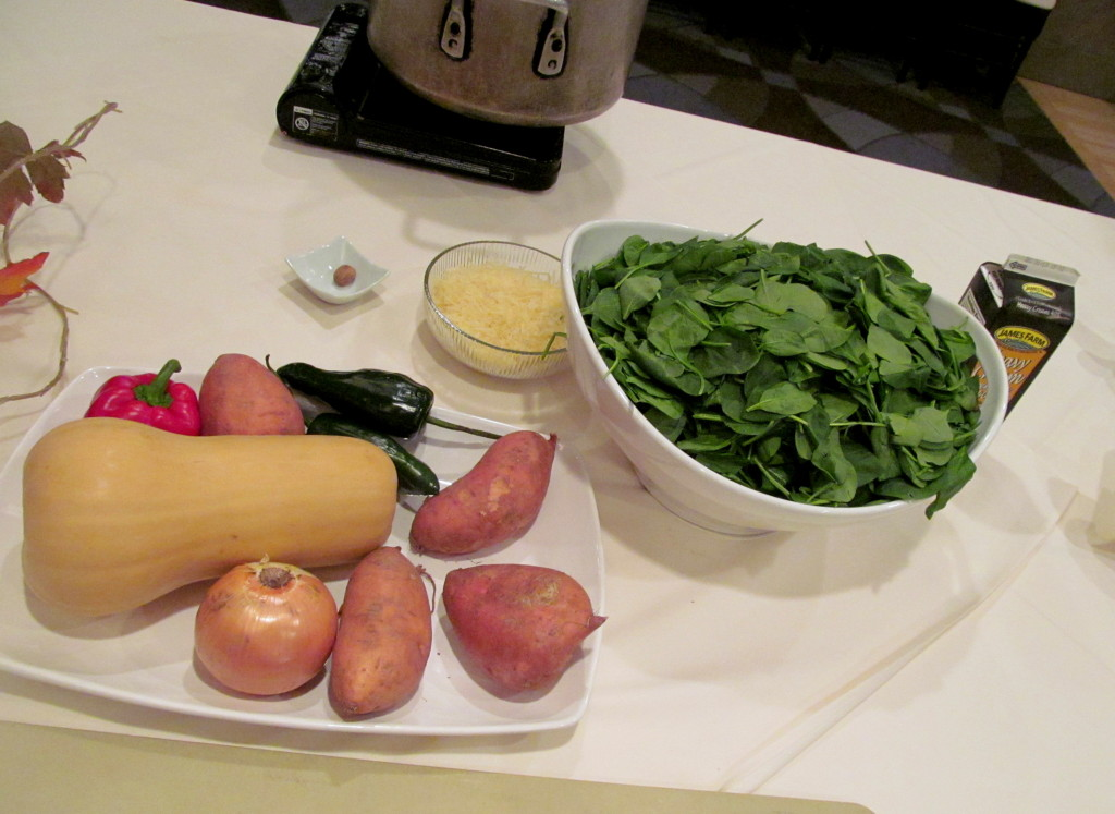 Hash and spinach ingredients.