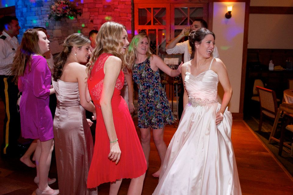 Dancing with the bride in my Lendperk dress!