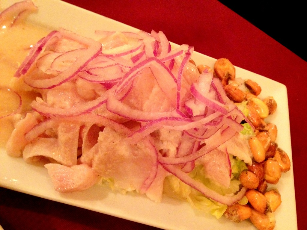 Ceviche: fresh fish, lime juice, corn, lettuce, onions.