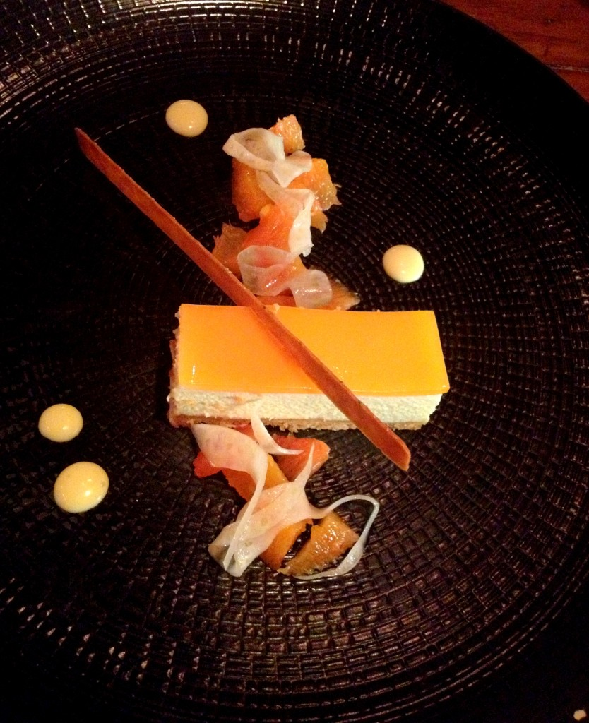 A gift from the kitchen - White Chocolate & Orange Mousse with honey tuile and candied fennel.