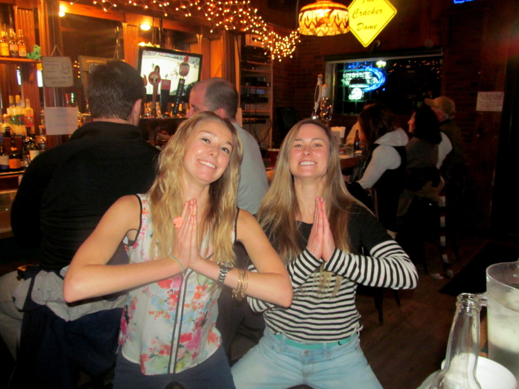 Doing our Zumba squats...in a bar...of course.