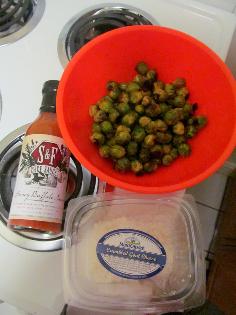 The specific sauce and goat cheese I used, along with the roasted brussels.