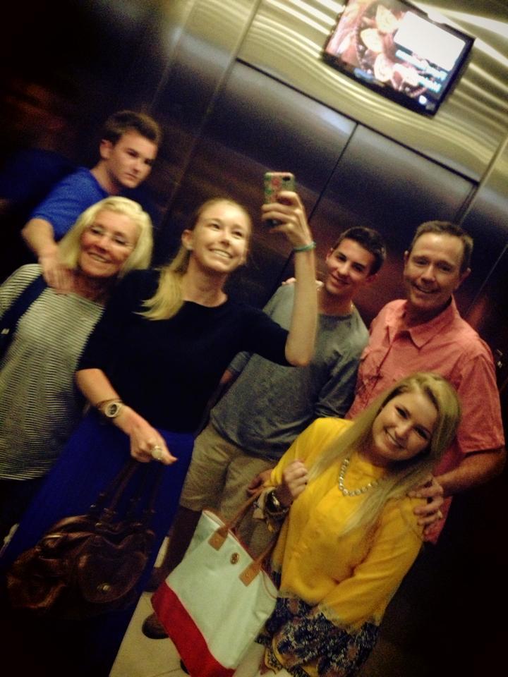 Family elevator selfie.