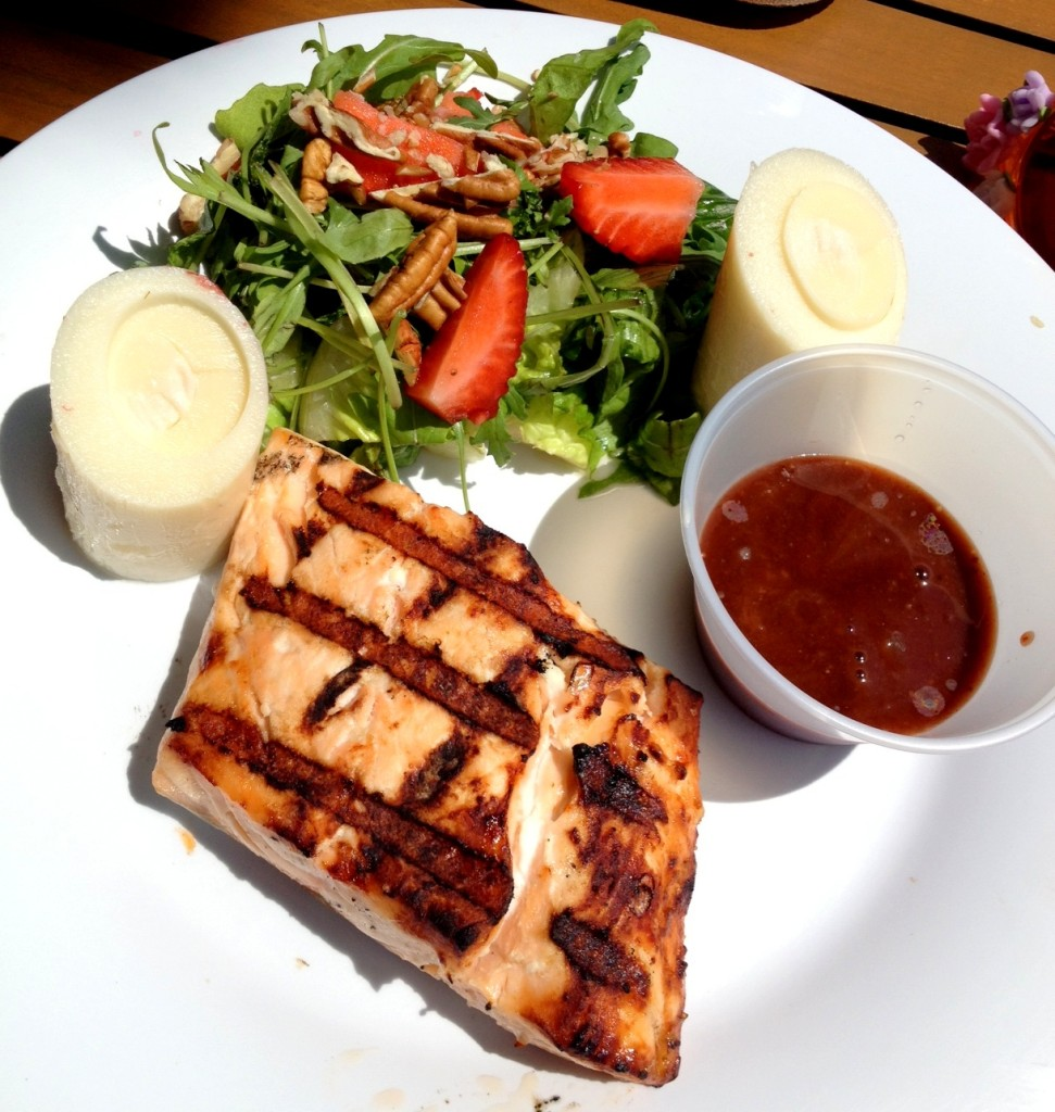 Yesterday's lunch - salmon, arugula salad with pecans & strawberries, hearts of palm, raspberry vinaigrette on the side.