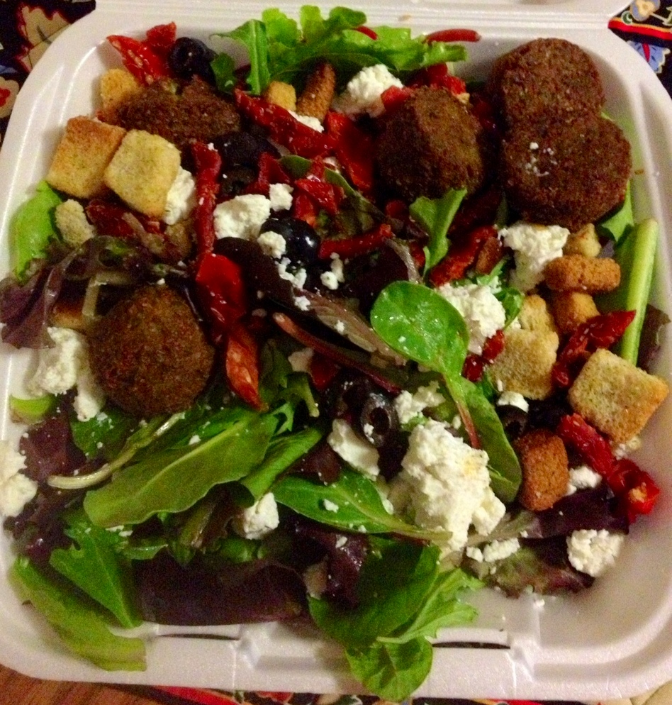 "Cheese and brussels do not a meal make. I grabbed a midnight falafel salad from a late-night spot by my apartment, and it was great! I watched ""Sex and the City"", drank a Bordeaux, and nommed this up. Perfect end to my Friday."