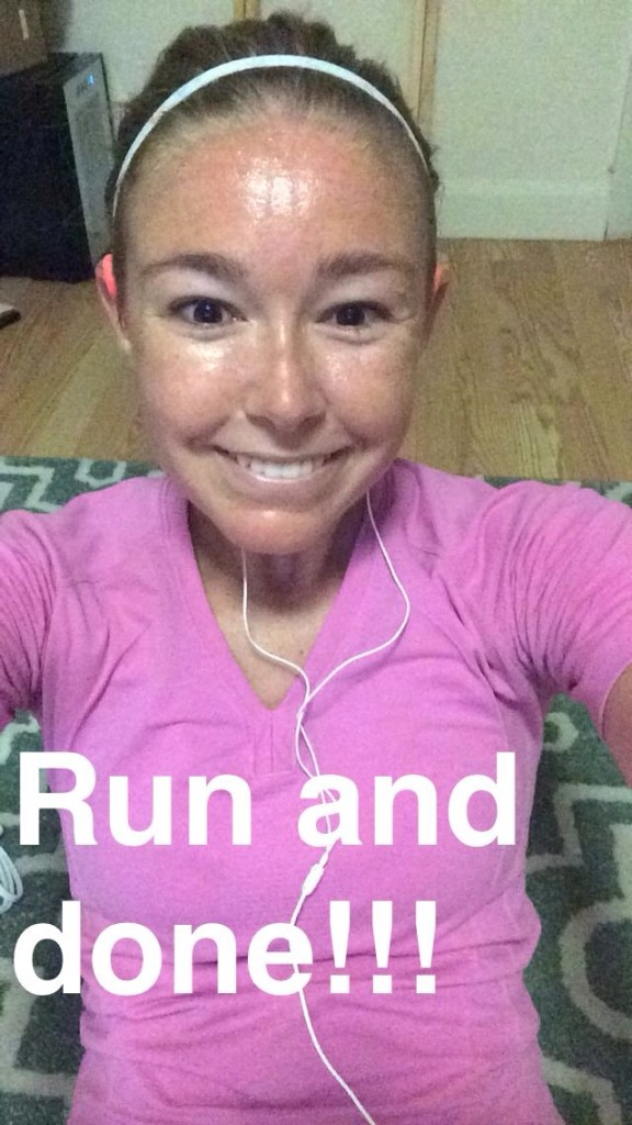 After this morning's run - smiling through that shin pain.