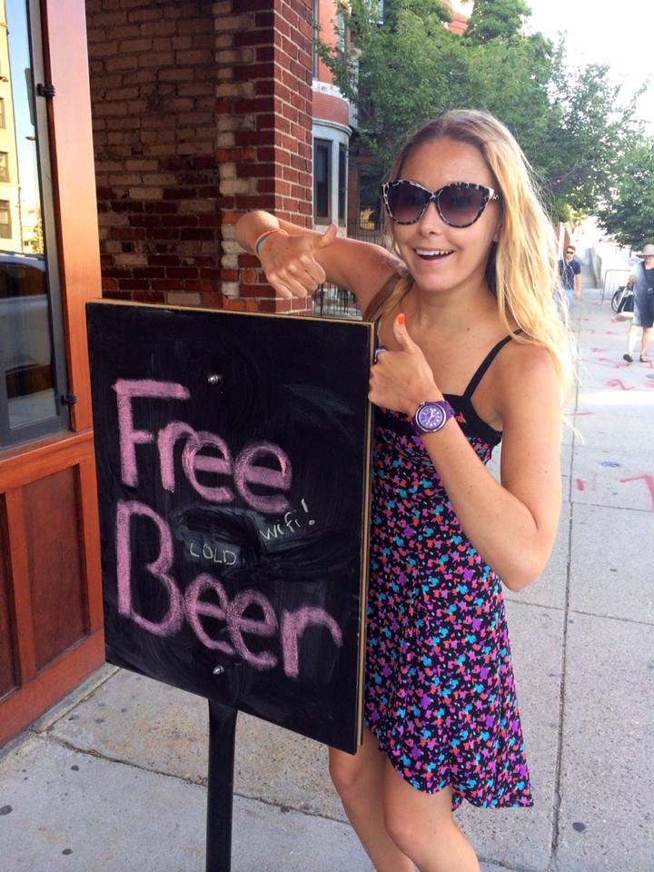 I missed the fact that this sign actually said Free Wifi, Cold Beer.