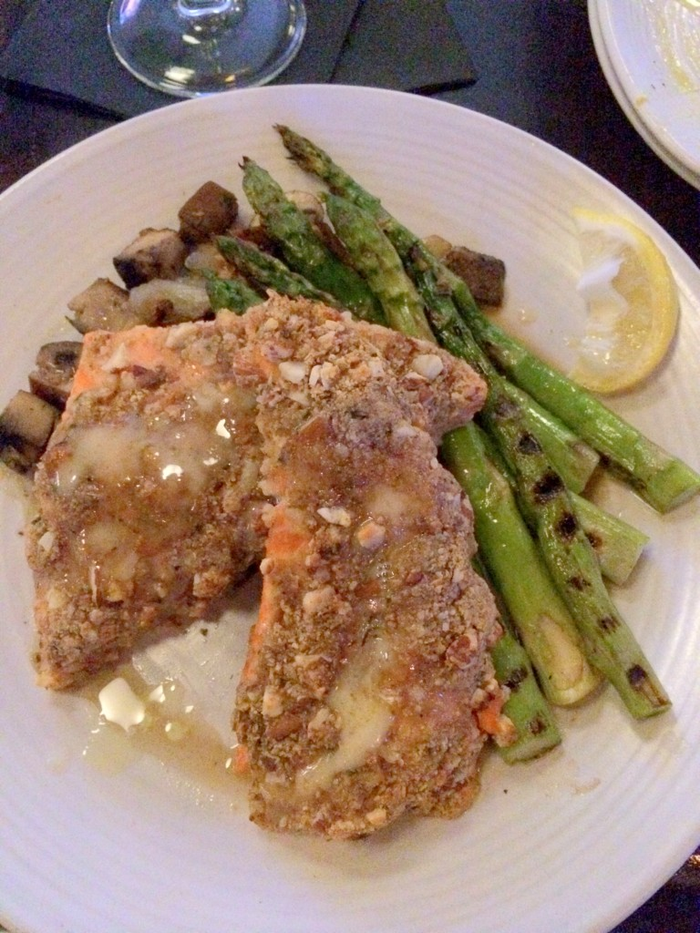 My incredible almond-crusted salmon special, with asparagus and mushrooms!