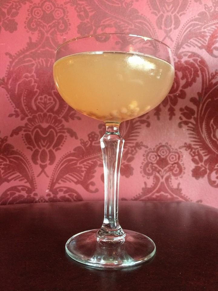 My first cocktail of the evening - the special of the night. Vanilla & cherry infused rum, petal & thorn vermouth, aphrodite bitters, and fresh guava. Photo swiped from The Regal Beagle FB page.