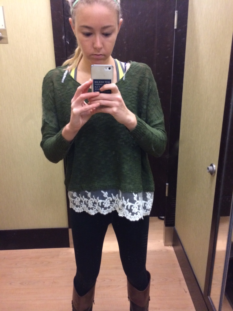 I love the olive green of this top - I don't own any clothing that color.