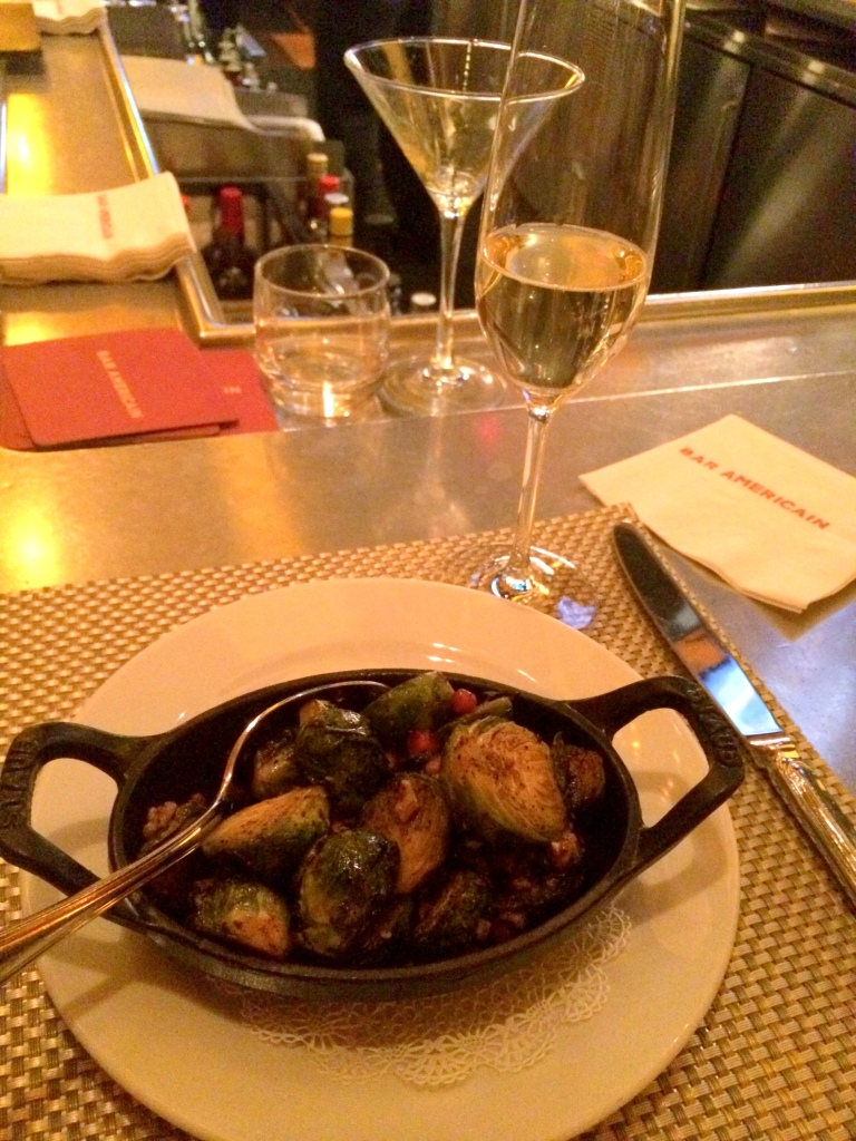 I always love getting drinks at Bar Americain, especially if they're paired with Brussels sprouts!