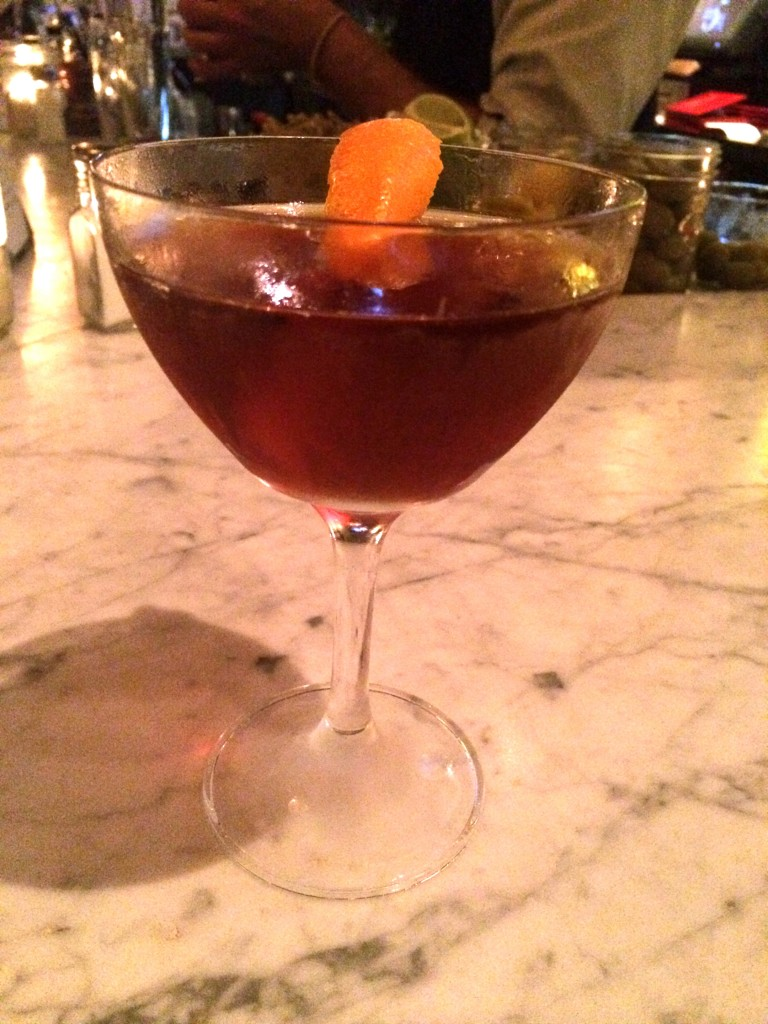 My favorite cocktail that I tried - the Carroll Gardens (Rittenhouse Rye, Averna Amaro, Antica Formula, Whiskey Barrel Bitters).