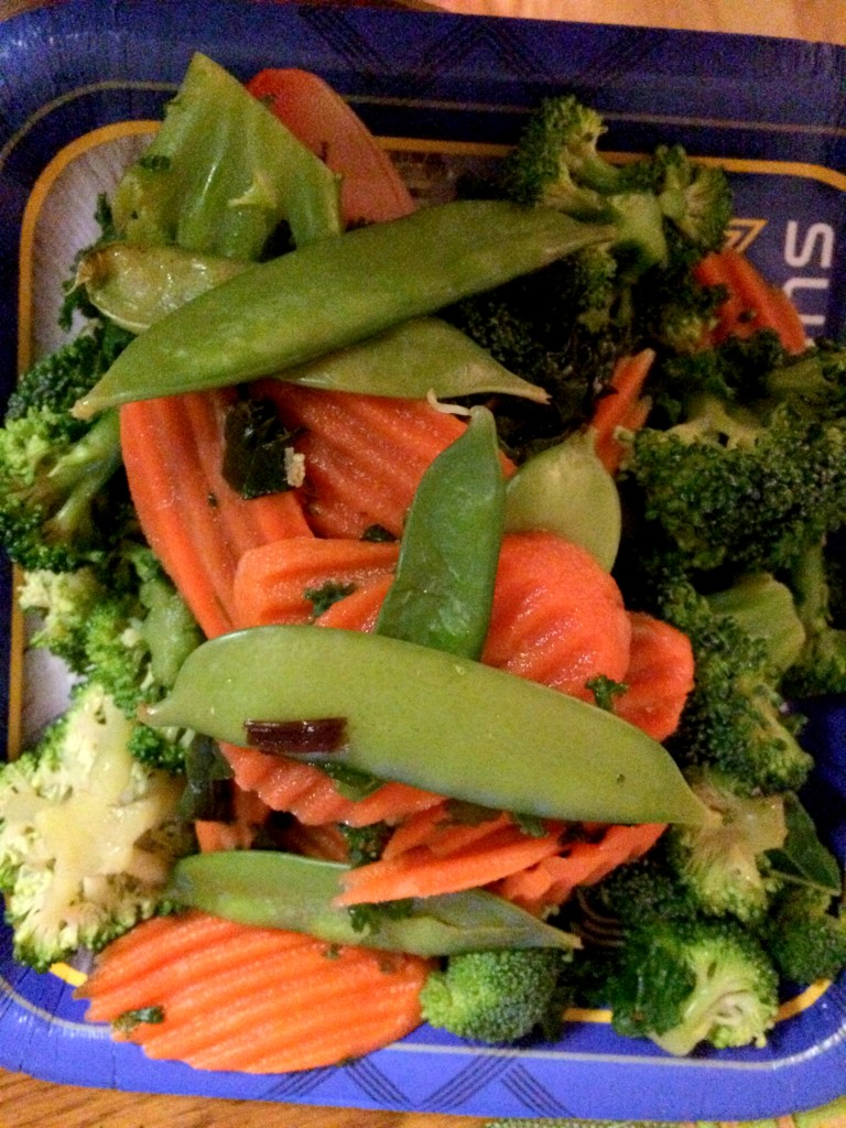 So, I heated the veggies from the kit up in the microwave!