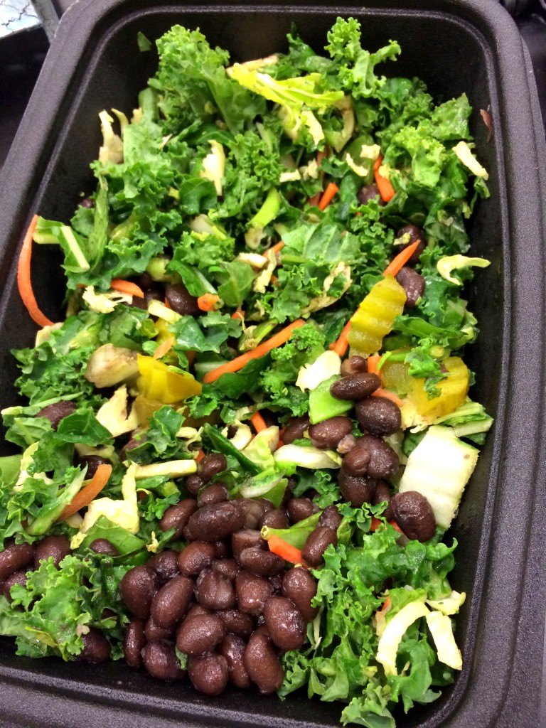 I used one of the salads as a base for a workday lunch, and added some of my favorite ingredients like black beans and pickles.