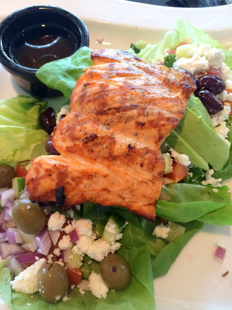 My Mediterranean salad with salmon. Love the bibb lettuce!