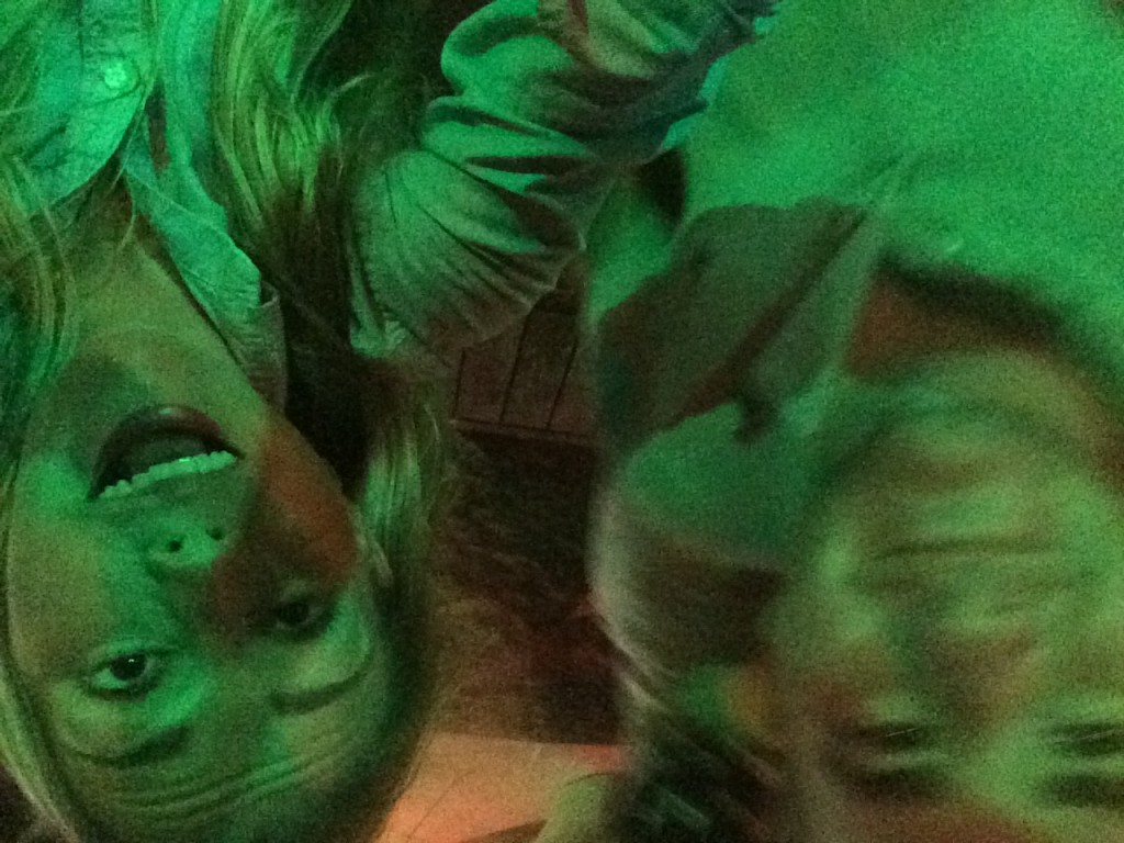Selfies during a pool deck late-night dance party - why are we upside down? I couldn't begin to tell you.