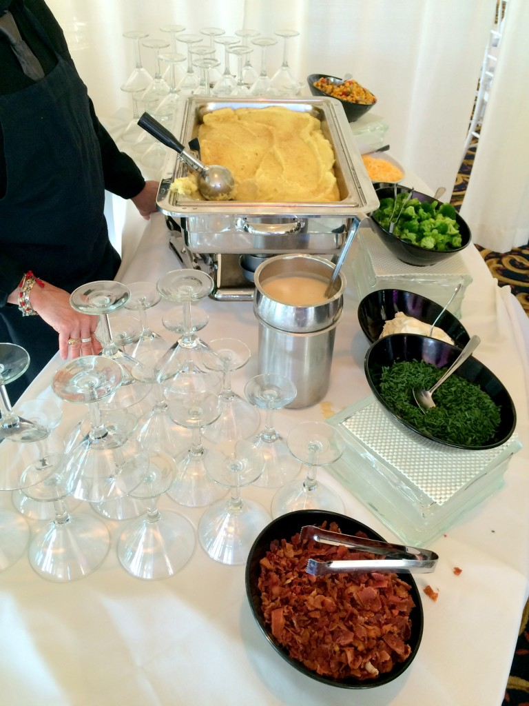 The reception food was ridiculous and included a mashed potato bar (yes those are martini glasses for the mashed potatoes) as part of the APPS.
