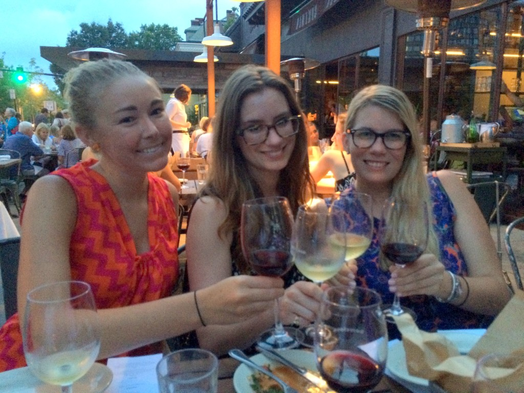 My dining partners, Emily and Kate! Emily's eyes are closed in a zen moment of food and wine appreciation.