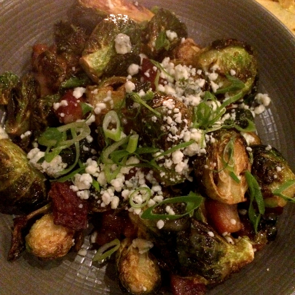 BABY CABBAGES! Fried with smoked bacon, bleu cheese crumbles, and lemon vinaigrette. Another can't-stop item.