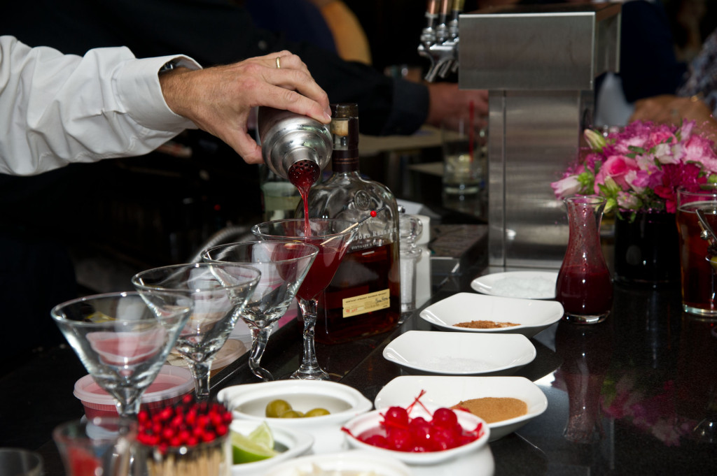 Pouring my cocktail for tasting purposes.