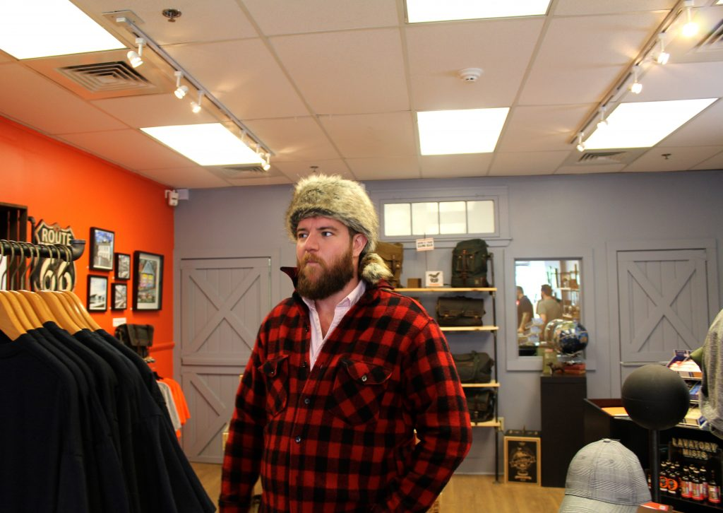Jeff fell pretty hard for this coonskin hat. (Photo by Matt)